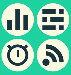 User icons set collection of column wifi vector
