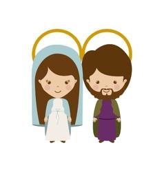 Virgin and joseph family cartoon vector