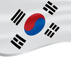 Waving flag of South Korea isolated on white vector image vector image