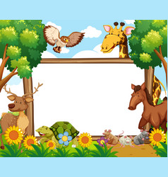 whiteboard with animals in forest vector image vector image