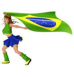 Woman fan cheerleader is carrying flag of brazil vector