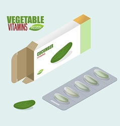 Cucumber pills in pack vegetarian vitamins tablets vector