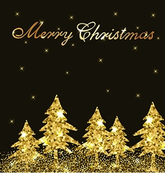 Christmas shining background with golden firs vector