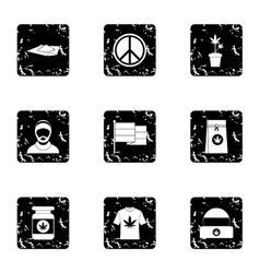 Hashish icons set grunge style vector