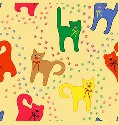 Funny cats over traces background vector