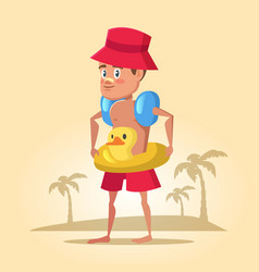 Boy with lifebuoy on summer holidays sea vacation vector
