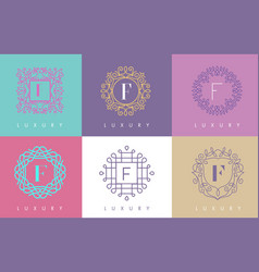 F letter pastel floral monogram lines logo design vector