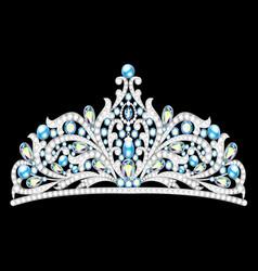 Crown tiara women with glittering precious stones vector