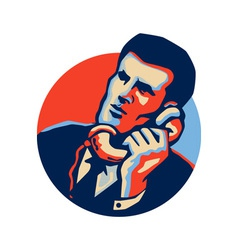 Businessman talk telephone retro vector