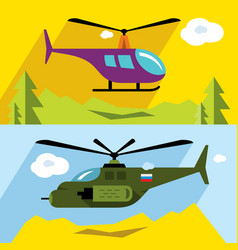 Set of civil and military aviation flat vector