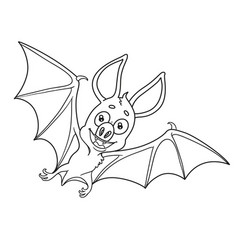 Cute halloween bat outlined for coloring page vector