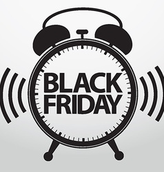 Black friday alarm clock icon vector