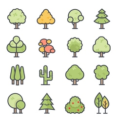 Tree icon bold stroke with color vector