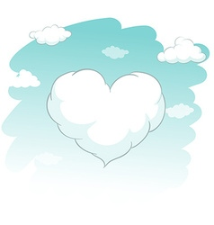Heart shape cloud in the sky vector
