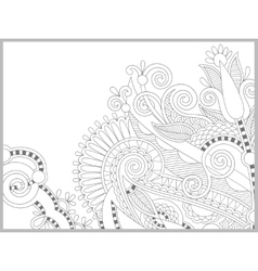 Unique coloring book page for adults - flower vector