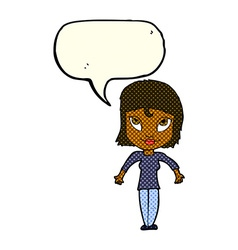 Cartoon girl shrugging shoulders with speech vector