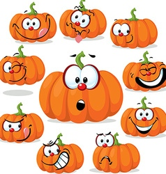 Funny pumpkin with many faces - vector