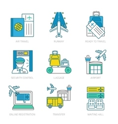Airport linear elements set vector