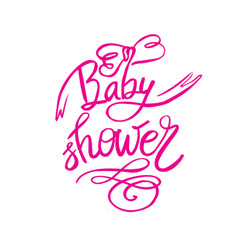 Baby shower text for girl custom lettering pink vector