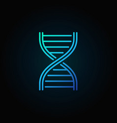 blue dna strand outline icon or logo vector image