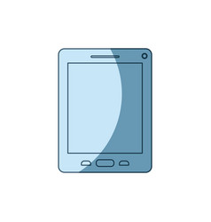 blue shading silhouette of tablet device vector image