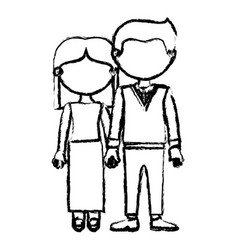 blurred black contour faceless couple woman with vector image vector image