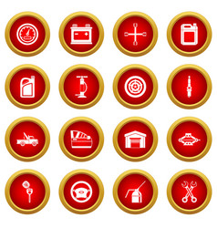 Car maintenance and repair icon red circle set vector