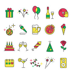 celebration and party icons with white background vector image vector image