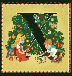 children book cartoon fairytale alphabet letter x vector image vector image