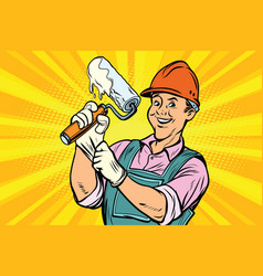 Construction worker with roller for paint vector