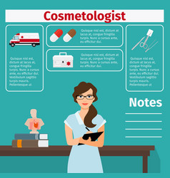 Cosmetologist and medical equipment icons vector