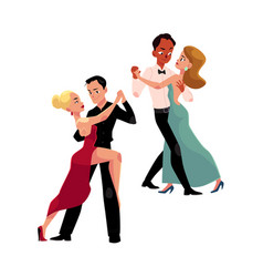 Couples of professional ballroom dancers dancing vector