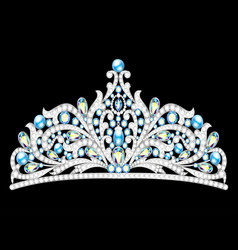 crown tiara women with glittering precious stones vector image