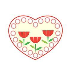 Decorative heart with three flowers in it vector