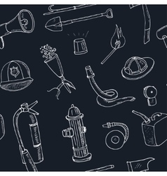 Doodle fire fighting tools seamless pattern vector