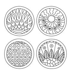 Doodles filled circles set vector image