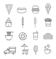 Fast food line icons set vector