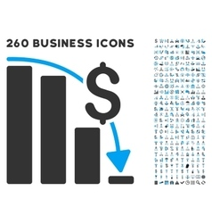 Financial epic fail icon with flat set vector