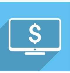 Financial monitoring long shadow square icon vector