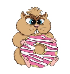 Greedy hamster sits with cookies vector