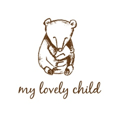 Hand drawn bear mother and bear child vector