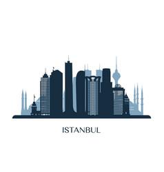Istanbul skyline monochrome silhouette vector