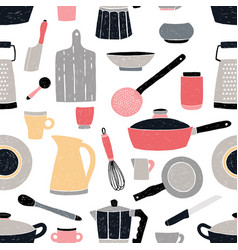 kitchenware seamless pattern stylized hand drawn vector image
