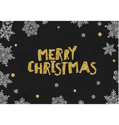 Merry christmas golden greeting on blackboard vector