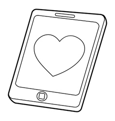 Mobile phone with heart icon outline style vector