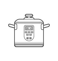 Outline kitchen multicooker vector