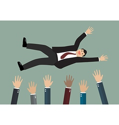 People throw a businessman in the air vector image vector image