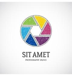Retro photo lens logo template with multicolor vector image