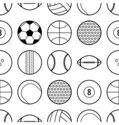 Seamless pattern with different sport balls Flat vector image