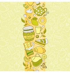 Seamless vertical border with tea elements vector